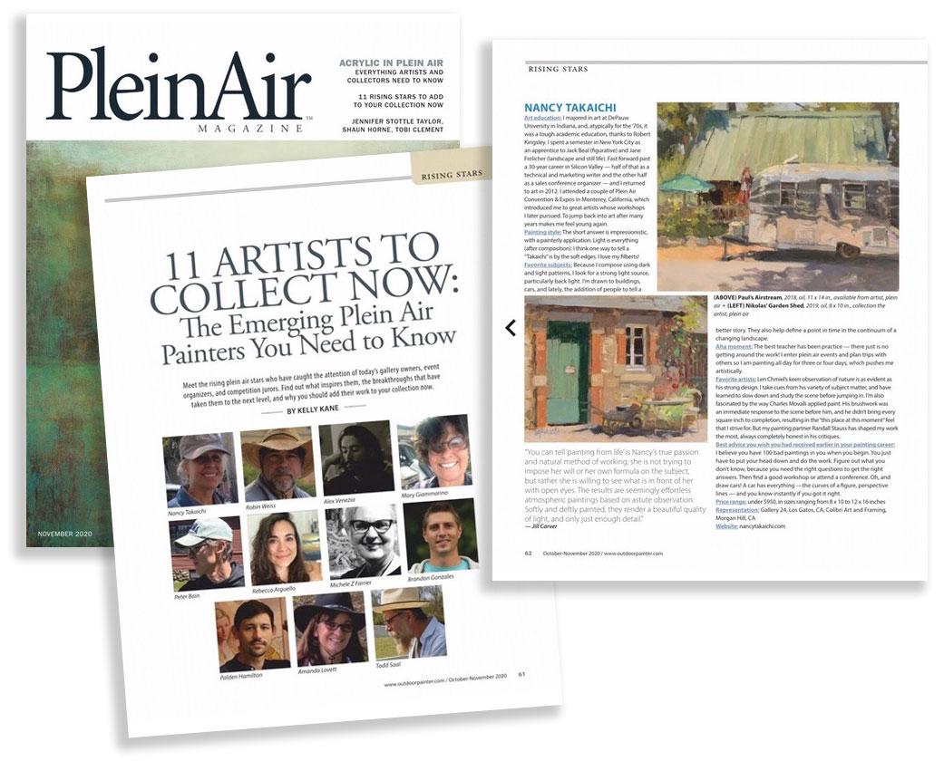 Nancy Takaichi feature in Nov 2020 Plein Air Magazine