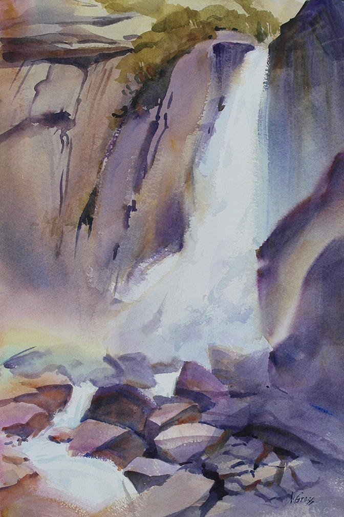 Lower Yosemite Falls painting by Veronica Gross